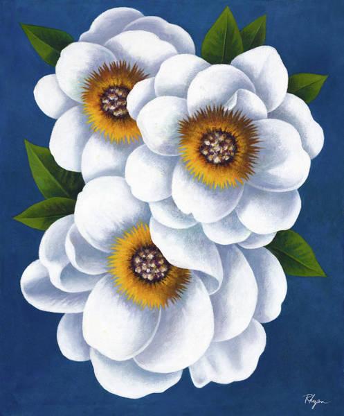 Wall Art - Painting - White Flowers On Blue II by Vivien Rhyan
