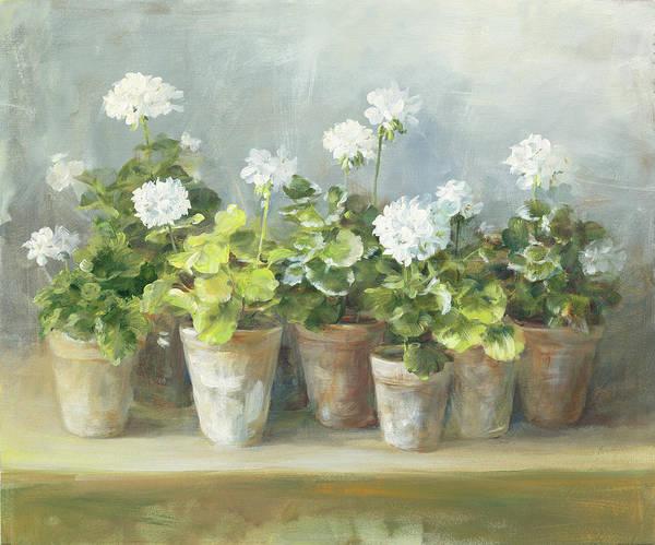 Clay Wall Art - Painting - White Geraniums by Danhui Nai