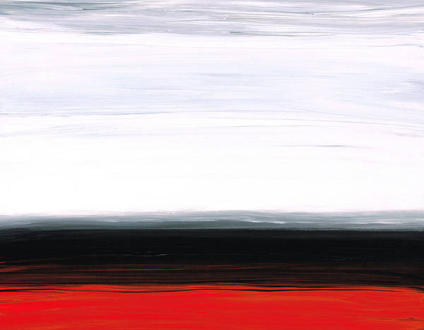 Painting - White Horizon - Abstract Red And Black Landscape Art by Sharon Cummings