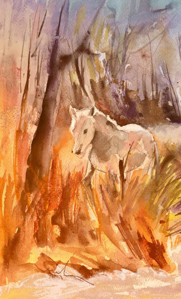 Painting - White Horse In The Camargue 01 by Miki De Goodaboom
