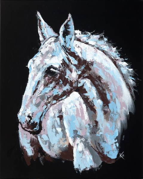 Painting - White Horse by Konni Jensen