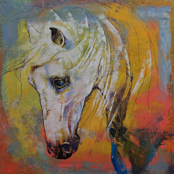 White Stallion Wall Art - Painting - White Horse by Michael Creese
