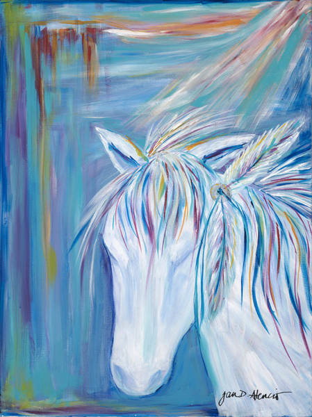 Interaction Painting - White Horse Of Peace by Jan Atencio