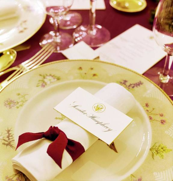 Official Residence Photograph - White House Place Setting by Horst P. Horst