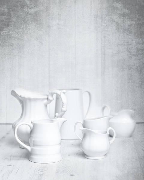 White Background Photograph - White Jugs by Amanda Elwell