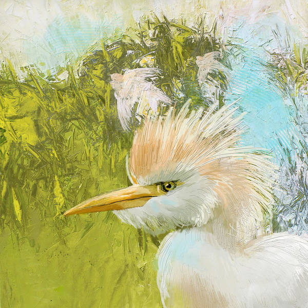 Canaries Painting - White Kingfisher by Catf