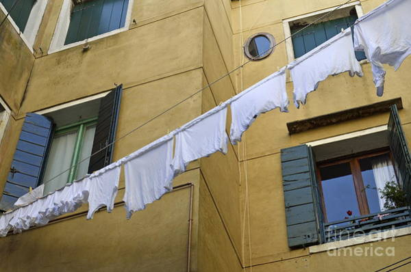 Wall Art - Photograph - White Laundry Hanging On Clothelines by Sami Sarkis