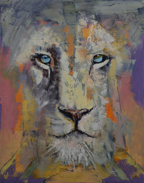 Wall Art - Painting - White Lion by Michael Creese