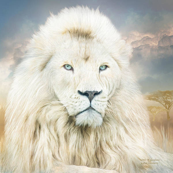White Cat Mixed Media - White Lion - Spirit Of Goodness by Carol Cavalaris