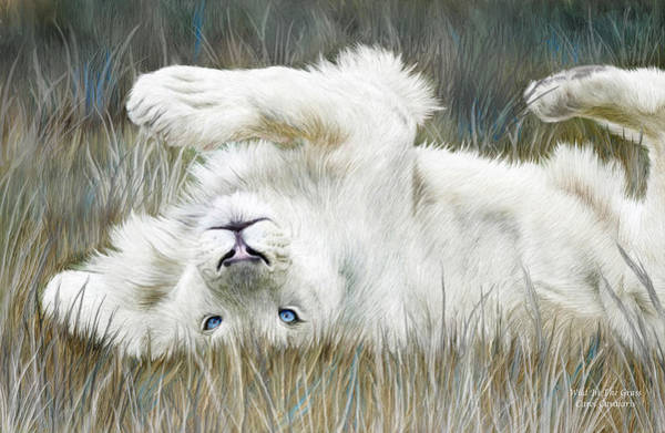 White Cat Mixed Media - White Lion - Wild In The Grass by Carol Cavalaris