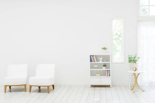 Armchair Photograph - White Living Room by Bloom Image