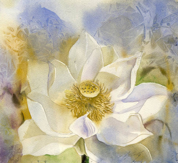 Painting - White Lotus With Blue by Alfred Ng