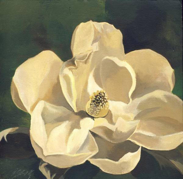 Painting - White Magnolias With Green by Alfred Ng