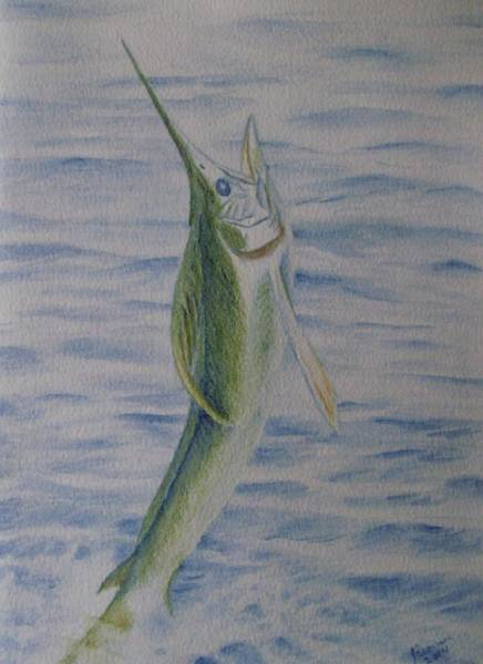 Wall Art - Painting - White Marlin by Joann Renner