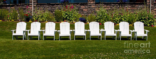 Photograph - White Muskoka Chairs by Les Palenik