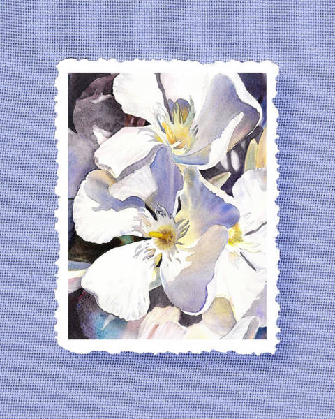 3d Painting - White Oleander On Vintage Blue by Irina Sztukowski