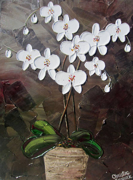 Wall Art - Painting - White Orchid Flowers by Christine Bell