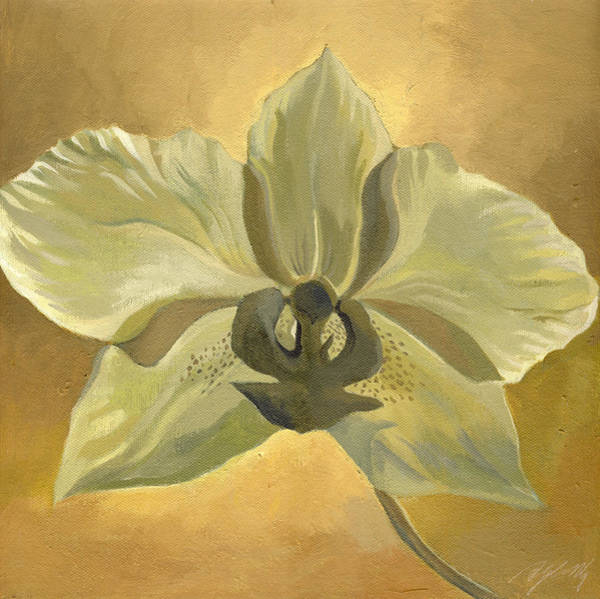 Painting - White Orchid With Ochre  by Alfred Ng