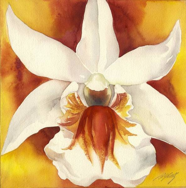 Painting - White Orchid With Yellow  by Alfred Ng