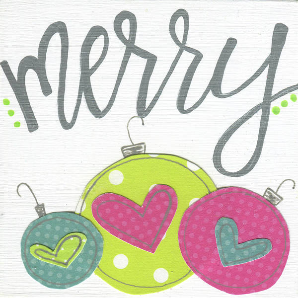 Wall Art - Painting - White Ornaments Merry by Alli Rogosich