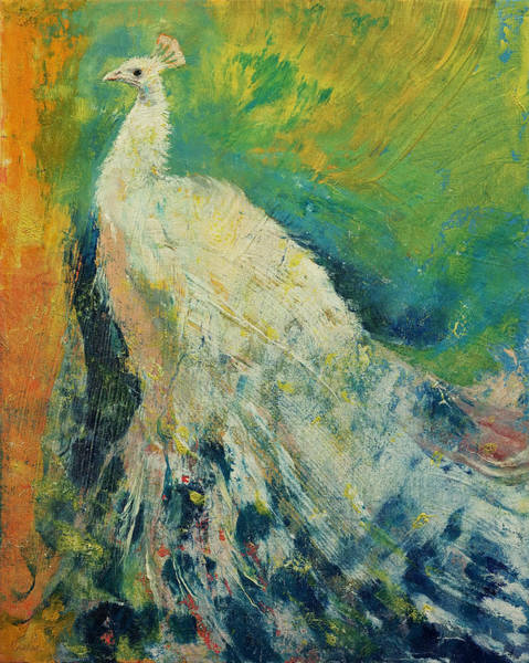 Peacocks Painting - White Peacock by Michael Creese