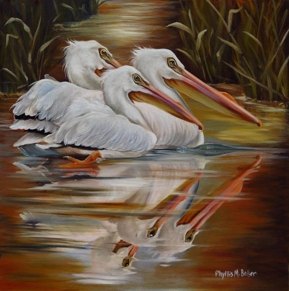 Wall Art - Painting - White Pelicans In The Mississippi Marsh by Phyllis Beiser