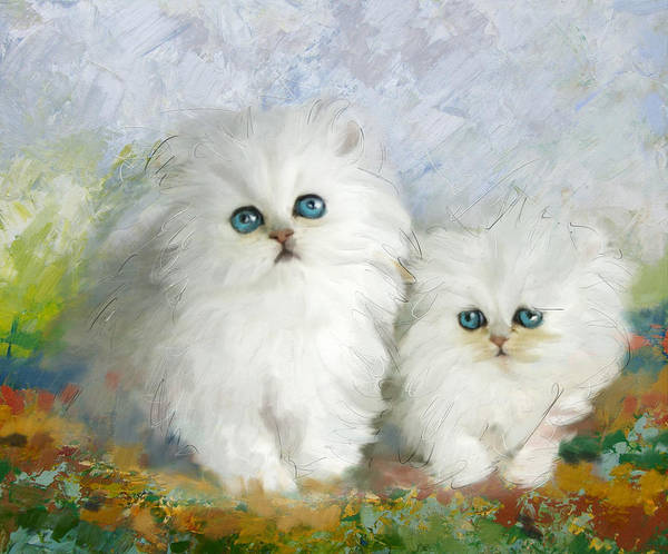 Canaries Painting - White Persian Kittens  by Catf