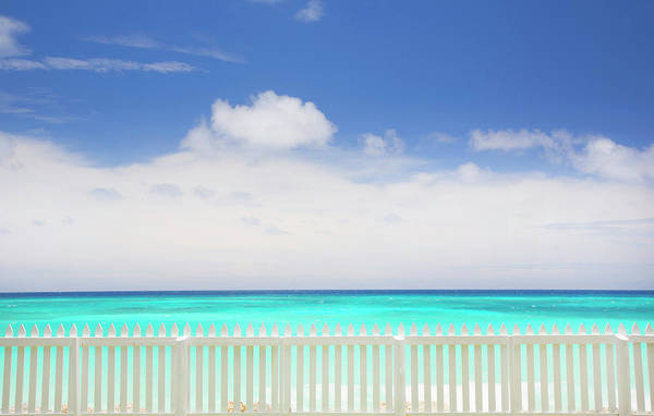 Barbados Photograph - White Picket Fence Near Tropical Beach by Grant Faint
