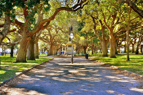 White Point Gardens At Battery Park Charleston Sc Hdr Art Print