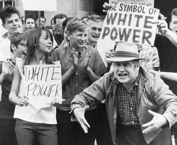 Photograph - White Power Demonstrators by Underwood Archives