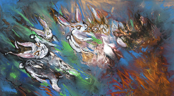 Painting - White Rabbits On The Run by Miki De Goodaboom