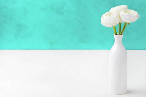 Wedding Bouquet Photograph - White Ranunculus Flowers In A Ceramic by Annapustynnikova