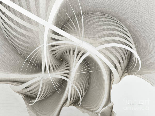 White Ribbons Spiral Art Print