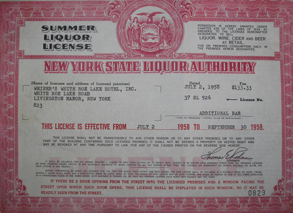 Photograph - White Roe Hotel Liquor License by Ericamaxine Price