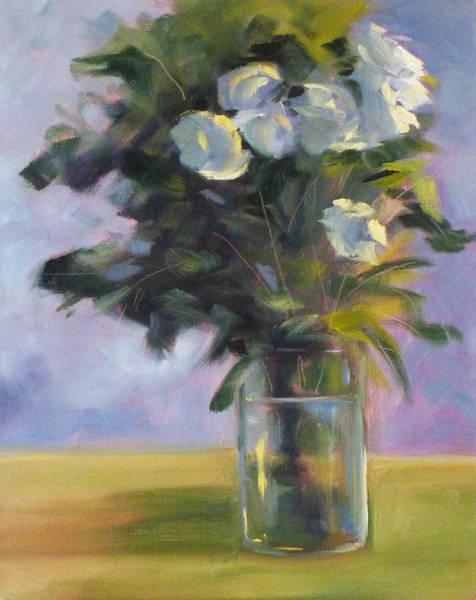 Loose Wall Art - Painting - White Roses by Nancy Merkle