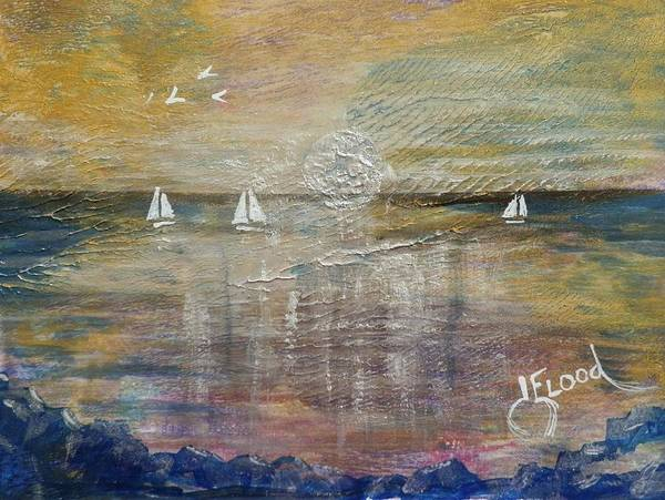 Elwood Blues Painting - White Sails In The Moonlight by Jann Elwood