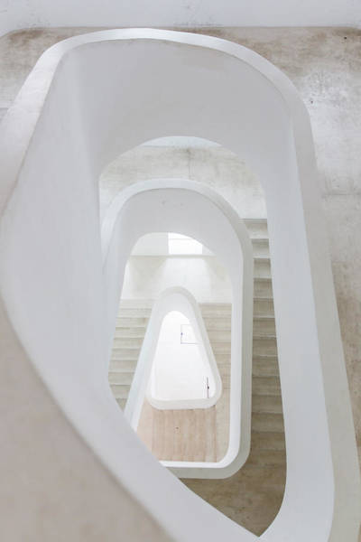 Vertical Perspective Photograph - White Spiral Staircase, High Angle View by Alexander Spatari