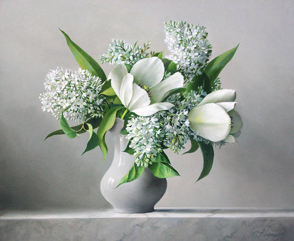 Tulip Wall Art - Painting - White  Sprintime  Flowers by Pieter Wagemans