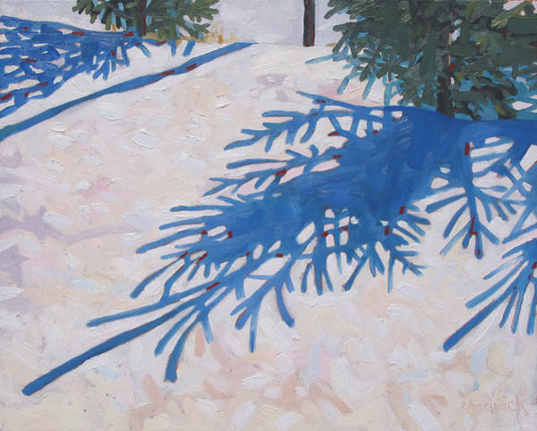 Barn Snow Painting - White Spruce by Phil Chadwick