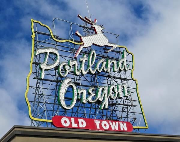 Burnside Bridge Photograph - White Stag Sign Portland Oregon by De Ann  Troen