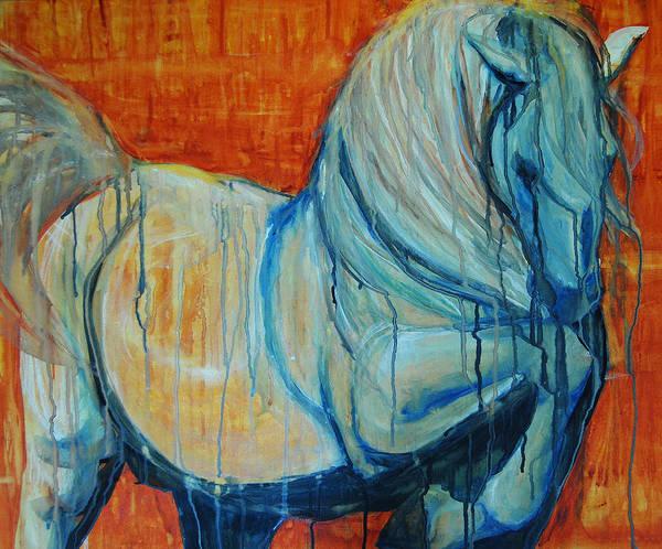 Painting - White Stallion 1 by Jani Freimann
