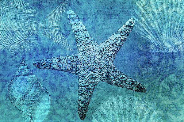 Beach Collage Painting - White Starfish by Cora Niele