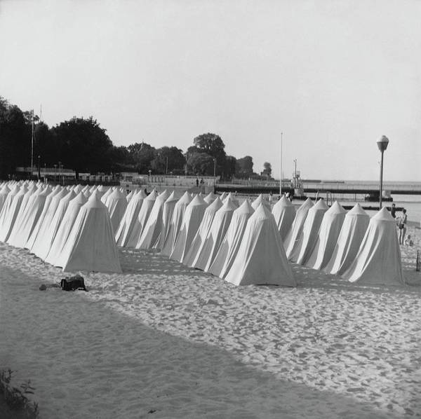 Copy Photograph - White Tents On A Beach by Horst P. Horst