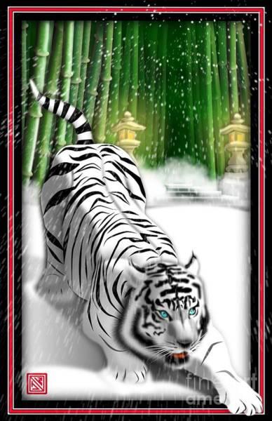 Bamboo Digital Art - White Tiger Guardian by John Wills
