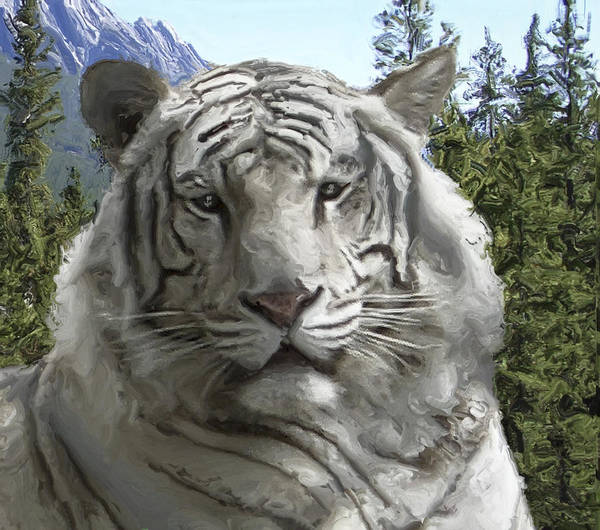 Regal Digital Art - White Tiger In Its Forest Habitat by Daniel Hagerman