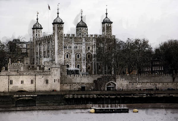 River Thames Digital Art - White Tower At Tower Of London by Daniel Hagerman