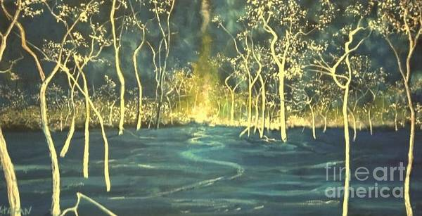 Painting - White Trees In The Blue Woods by Stefan Duncan