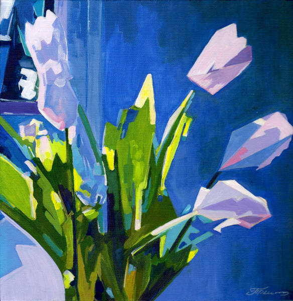 Painting - White Tulips On Blue Background by Tanya Filichkin