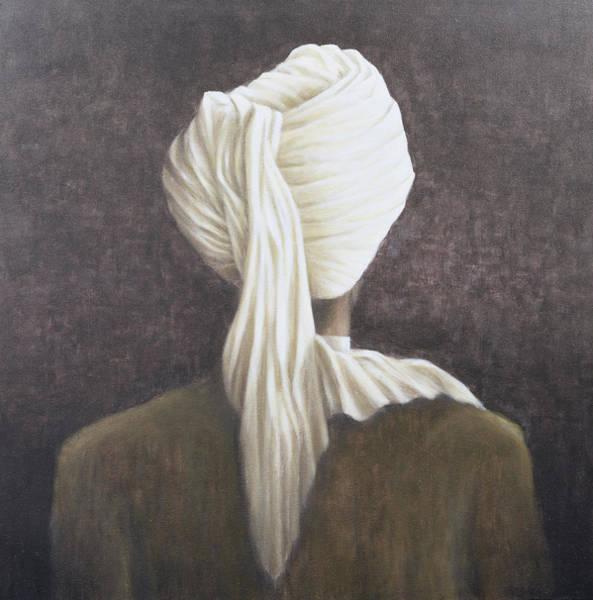 Headdress Photograph - White Turban, 2005 Acrylic On Canvas by Lincoln Seligman