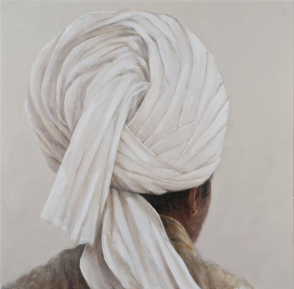 Head And Shoulders Photograph - White Turban, 2014 Oil On Canvas by Lincoln Seligman